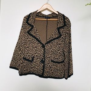 Ann Klein Cheetah Print Sweater Jacket blazer